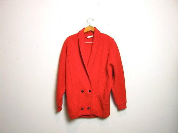 vintage 80s red wool oversized sweater coat