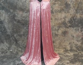 Hooded Cape, Rose Crushed Velvet - Renaissance Costume, Fairy Princess, Cloak - Medieval Camelot - Wicca, Pagan, Ritual Robe - READY TO SHIP