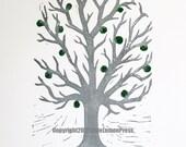 Malus- Apple tree hand pulled linocut block print 11x14