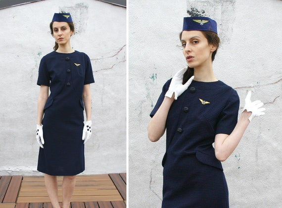 Vintage 60s Flight Attendant Stewardess Dress 1960s Halloween
