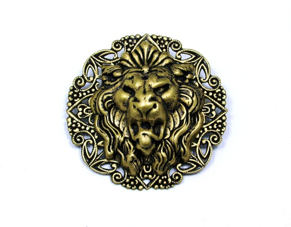 Renaissance Medieval GOTHiC LION Head Badge PIN / BROOCH Jewlery