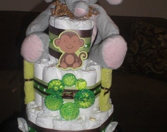 Safari Jungle Elephant Theme Diaper Cake Baby Shower Centerpiece other anaimals, colors and sizes too
