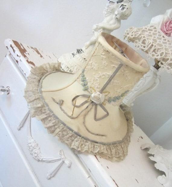 Antique Ribbonwork Lamp Shade - Tambour Lace - Shabby French Cottage - Vintage Vanity Boudoir