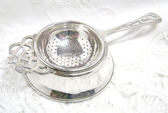 Tea Strainer Amp Stand Vintage Silver Plate Regis England