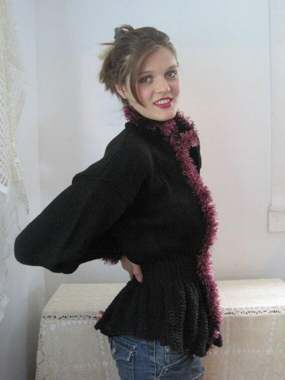 Basia Designs Hand Knit Black Peplum Cardigan with Plum Trim
