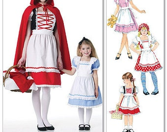 COSTUME SEWING PATTERN - Goldilocks / Alice in Wonderland / Little Red Riding Hood - Child Sizes 3 to 8 Years