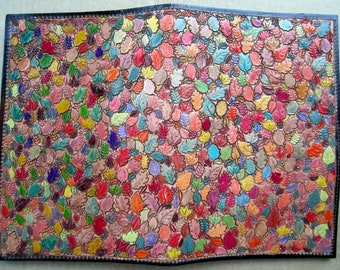Colorful Leaves with Brown Border Leather Jr Legal Pad Cover Hand Made in GA USA
