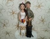 Hunter & Nurse with Pets Customized Wedding Cake Topper