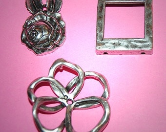 Vintage 3 Antique Plated Pendant Findings N1R