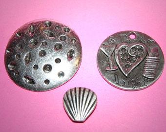 Vintage 3 Extra Fancy Antique Silver Plated Pendants N1R