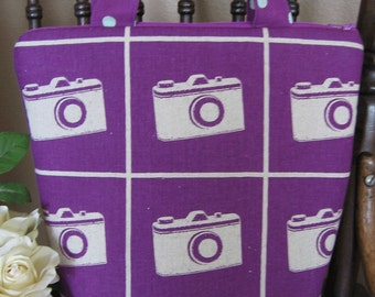Insulated Lunch Tote./ camera /  Zipper Bag, Japanese fabric,  lunch bag,eco lunch bag, purple