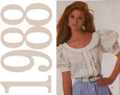 80s Ruffled Blouse Vintage Pattern - B30 to B32 - Simplicity 8498 - Peasant Blouse Sewing Pattern - Uncut, Factory Folds