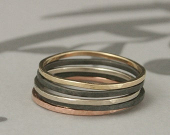Super Skinny Rockin' Hammered Stacking Ring Set--Set of FIVE bands--One each in 14K Rose, Yellow and White Gold and two in Black Silver