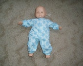 Baby Doll Clothes -- Blue Floral Sleeper