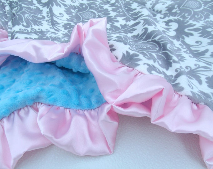 Gray Pink Damask with Turquoise Minky Baby Blanket - for a baby girl - personalized Can Be Personalized