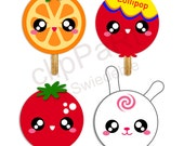 Clip Art CAN01 - 4 KAWAII Lollipop Friends for Scrapbooking,  Greeting Cards, Name Cards and Many More (Kawaii Styled)