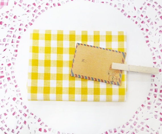Buttery Yellow Gingham Print Cotton Fabric in A Fat Quarter