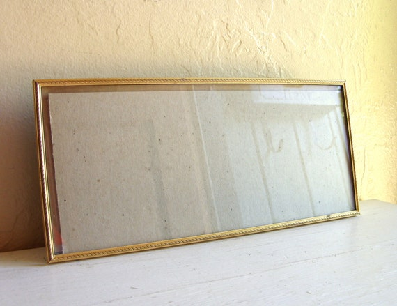 Unique 5.5x12 Vintage Gold Metal Picture Frame Standing or Hanging