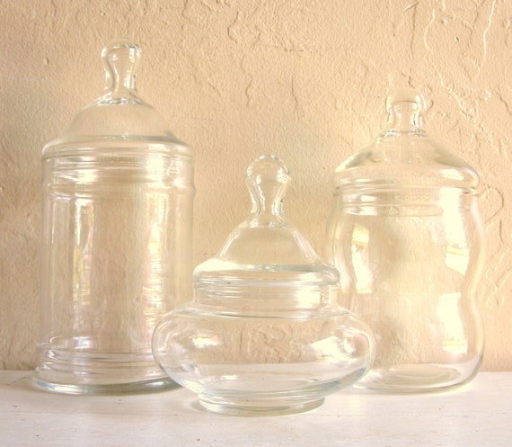 Apothecary Jar Trio with Lids Curvy Glass Bubble Jars