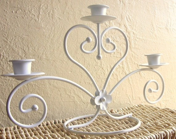 Shabby Chic White with Gold Candelabra Centerpiece Large 3 Candles