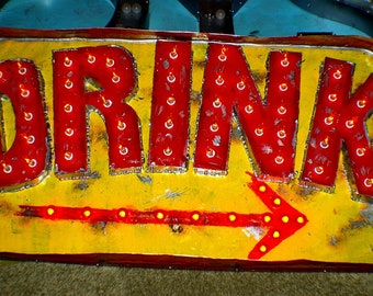 Vintage Marquee Art  DRINK Arrow Flame lights Second Generation 4 ft x 2 ft