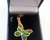 Astonish Gold Filled Butterfly Millefiori pendant  Chain by Orly Kliger