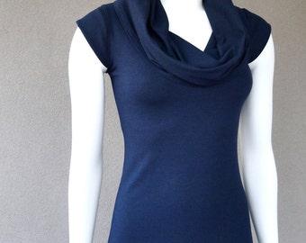 Long cowl dress, organic cotton dress, maxi dress, dark blue dress, organic clothing for her, handmade dress
