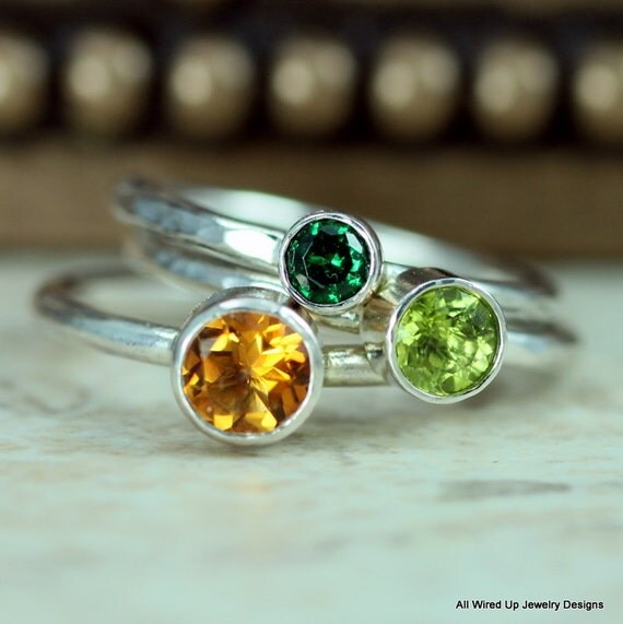 peridot stack ring emerald stacking ring or citrine by ppennee
