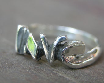 Solid Sterling Silver LOVE Ring Sz 7.5