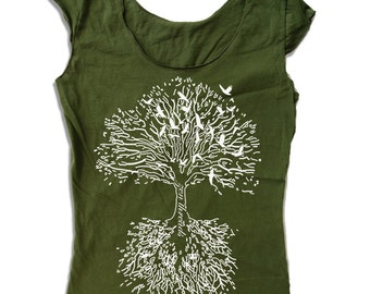 Womens ROOTS Tree Scoop Neck Tee - american apparel T Shirt S M L XL (6 Colors)
