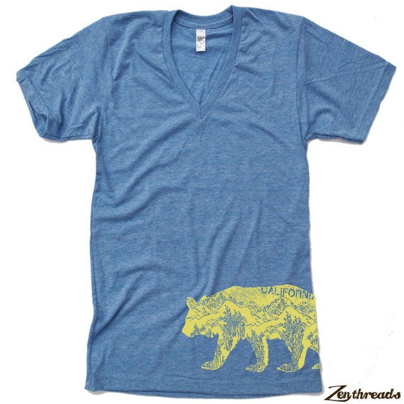Unisex CALifornia BEAR Tri Blend V Neck T Shirt american apparel XS  S  M  L (3 Color Options)