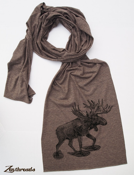 Scarf - MOOSE (in Snow Shoes) Jersey Tri-Blend Extra Long Wrap (3 Colors Available)