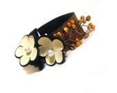 Rustic women leather bracelet with flowers Fashion bracelet Jewelry bracelet Leather bangle cuff bracelet