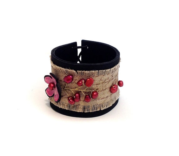 Flower leather bracelet with pearls. Burlap bracelet. Leather jewelry SALE