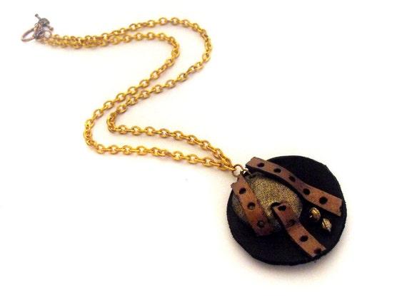 30% OFF SALE SALE Steampunk jewelry leather pendant n3