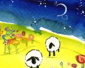 Sheep Night Sky Flower Field blank Greeting Card Art