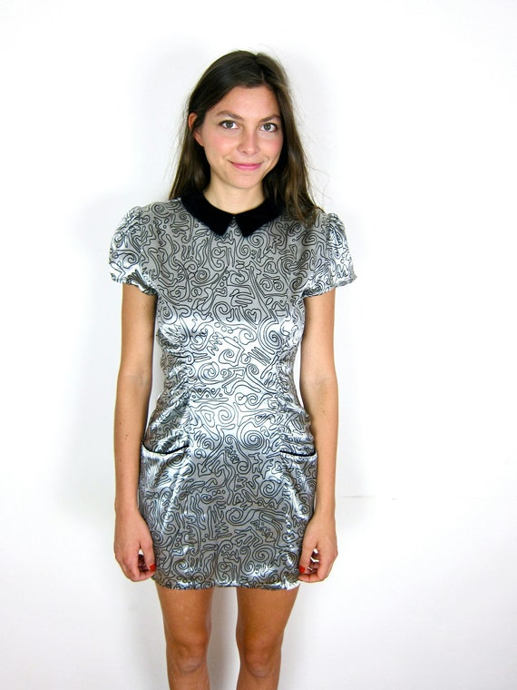 Amazing Silver and Black 80's Dress