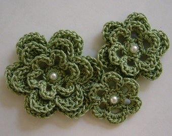 Crocheted Flowers - Sage Green With a Pearl - Cotton Flowers - Crocheted Flower Embellishments - Cotton Flower Appliques