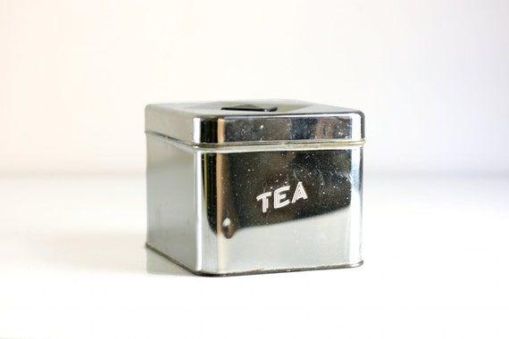 Vintage Chrome Tea Canister