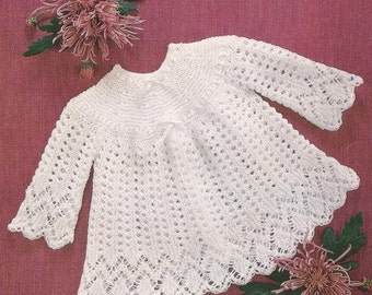 "PDF Knitted Baby Lacy Dress Size 18-20"" Knitting Pattern (Y190)"