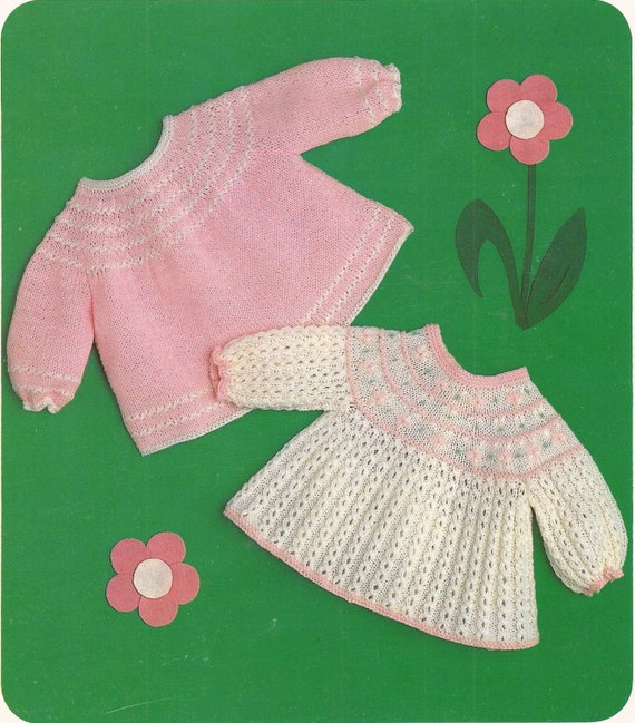 Prem Baby Knitted Dresses Knitting Pattern PDF (HY176)