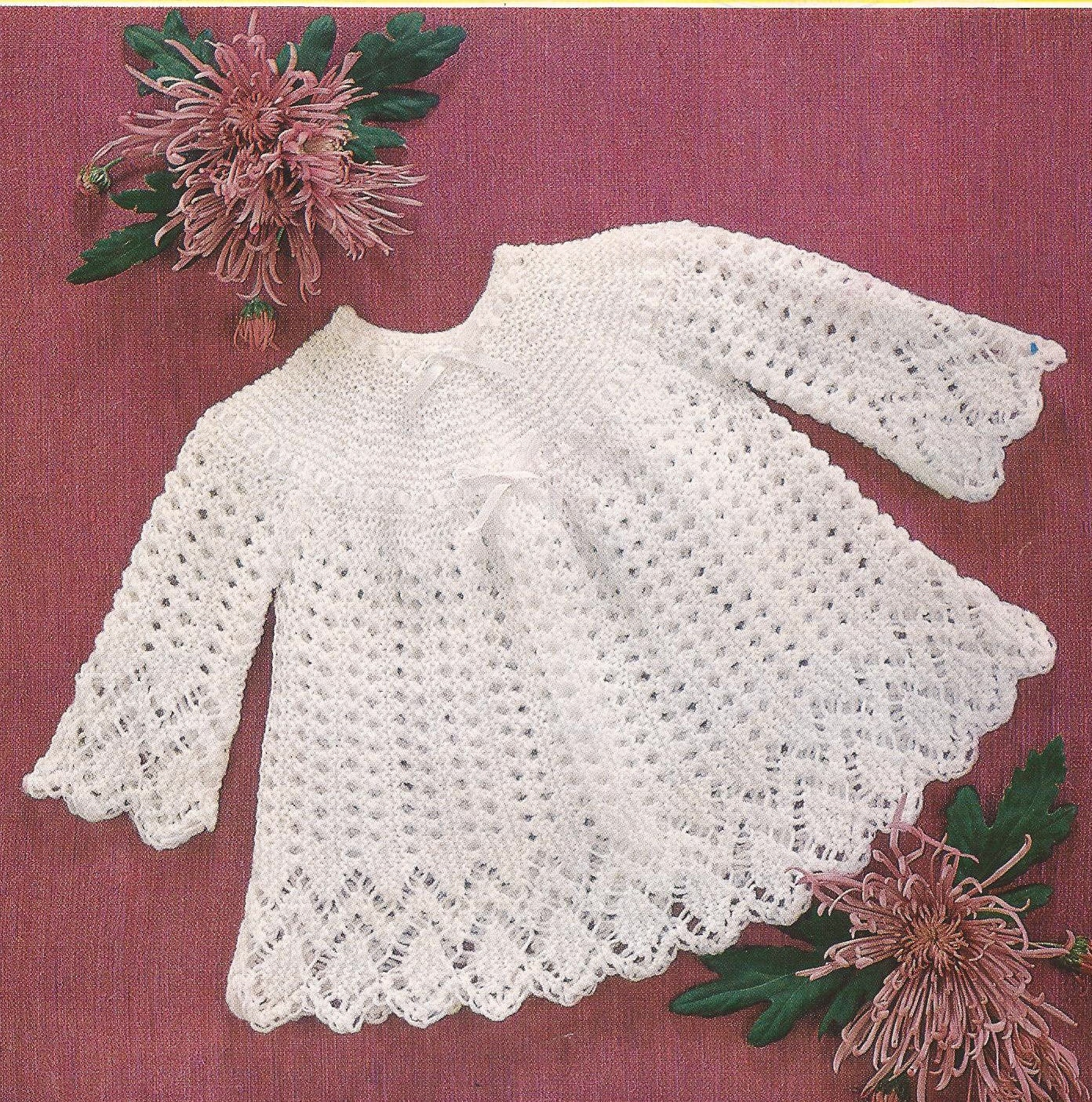 Knitting Pattern Sizes For Babies : Items similar to PDF Knitted Baby Lacy Dress Size 18-20