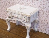 Dollhouse shabby chicTwelfth scale side or bedside chest..  a dollhouse miniature in twelfth scale