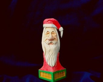 Santa Claus St Nicholas Bust Hand Carved