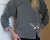 Women's Sweatshirt, Grey Appliqued Sweatshirt, Fashionable, Butterfly Sweatshirt, Appliqued Butterfly Sweatshirt, Pigment Dyed, sizes S-2XL