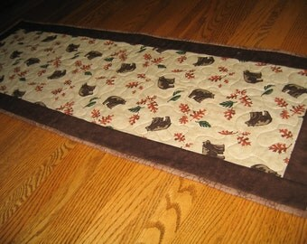 Quilted Table Runner with Bears and Oakleaves