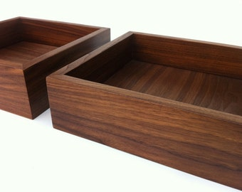 Modern Walnut Display Box Ottoman Tray - Sized to Fit - Interior Design Decor - Coffee Table Topper Sand Tray