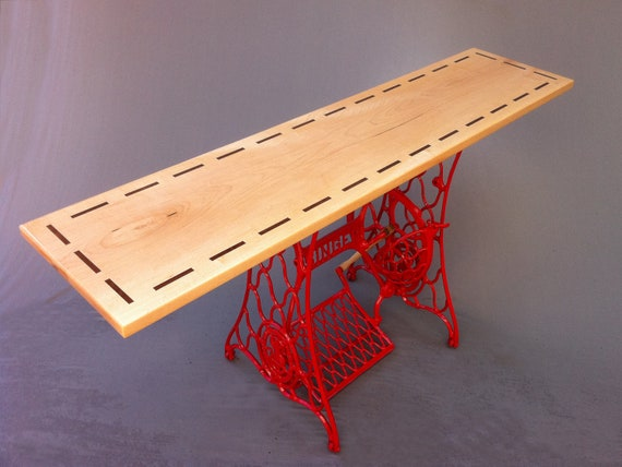 """QUICK SHIP!  - Modern Console Table - Hall Entry Table """"Stitch"""" by Studio 1212 Furniture - Modern Red Vintage Singer Sewing Machine Base"""