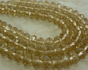 8x5mm Faceted Topaz Chinese Crystal Rondelle Beads 8 Inch Strand (BW220)