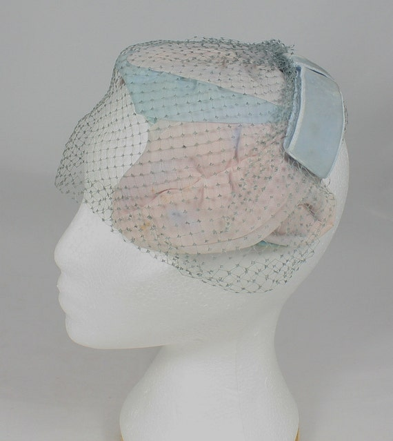 Vintage Hat, Blue and Pink with Veil Netting and Velveteen Ribbon, 1940's